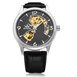 Sewor Gold Dial Black PU Leather Mechanical Men Wrist Watch