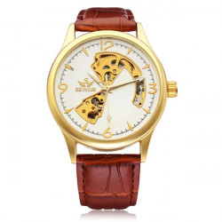 Sewor Gold Dial Brown PU Leather Mechanical Men Wrist Watch