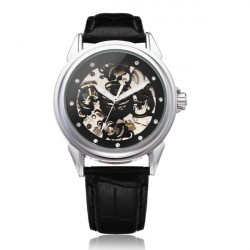 Sewor Mechanical Crystal Skeleton PU Leather Men Quartz Wrist Watch