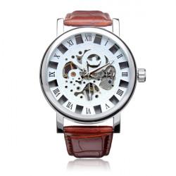 Sewor PU Leather Automatic Mechanical Roman Skeleton Men Wrist Watch