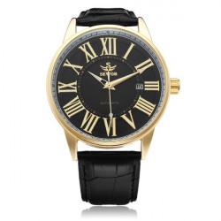 Sewor PU Leather Black Mechanical Romen Gold Men Wrist Watch