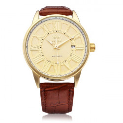 Sewor PU Leather Brown Mechanical Romen Gold Men Wrist Watch