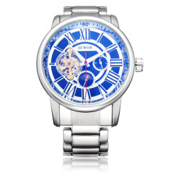Sewor Stainless Steel Automatic Mechanical Roman Skeleton Men Watch