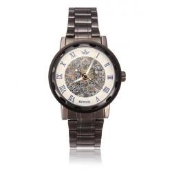 Sewor Stainless Steel Black Romen Mechanical Skeleton Men Wrist Watch