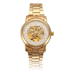 Sewor Stainless Steel Gold Romen Mechanical Skeleton Men Wrist Watch