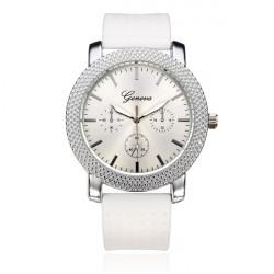 Silicone Band 3 Dial Round Women Quartz Wrist Watch