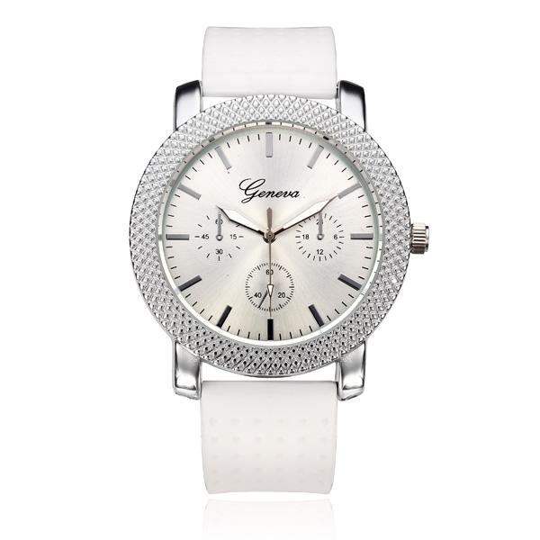 Silicone Band 3 Dial Round Women Quartz Wrist Watch Watch