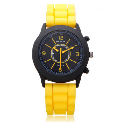 Silicone Black Round Dial Number Jelly Women Wrist Watch