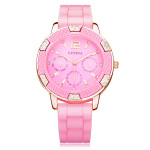 Silicone Crystal 3 Dial Gold Round Women Wrist Watch Watch