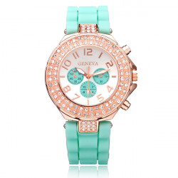Silicone Crystal 3 Dial Number Jelly Women Wrist Watch