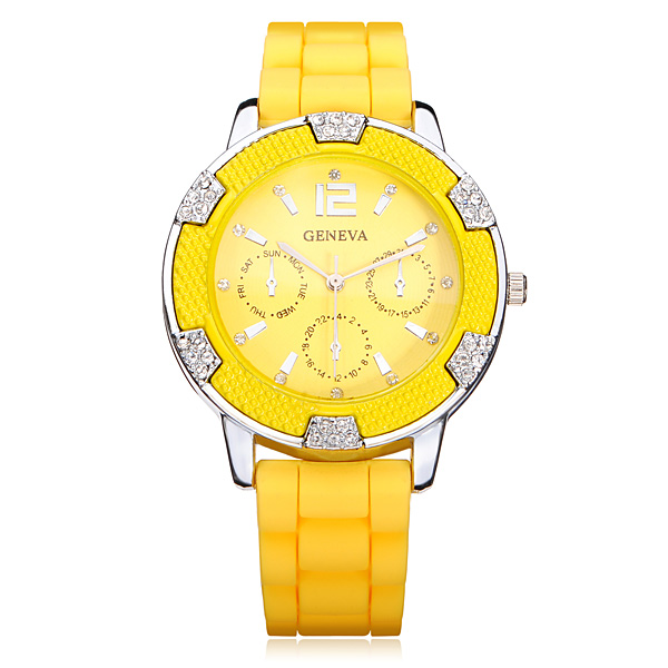 Silicone Crystal 3 Dial Number Round Women Wrist Watch Watch