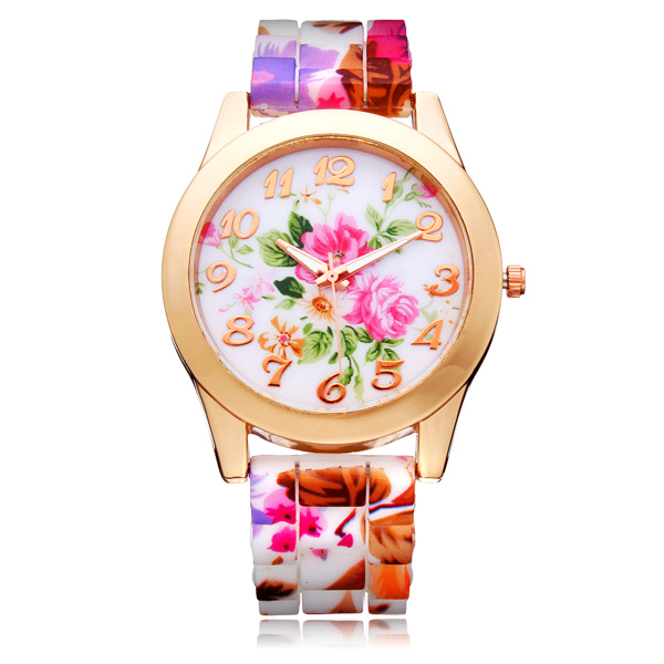 Silicone Flower Butterfly Round Gold Women Quartz Wrist Watch Watch