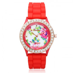 Silicone Flower Crystal Round Women Quartz Wrist Watch