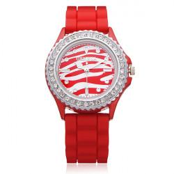 Silicone Leopard Crystal women Round Quartz Wrist Watch