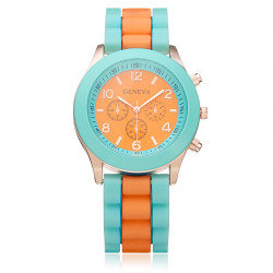 Silicone Number 3 Dial Women Round Quartz Wrist Watch