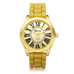 Silicone Roman Number Silver Round Women Quartz Wrist Watch