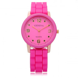 Silicone Round Dial Number Jelly Women Wrist Quartz Watch