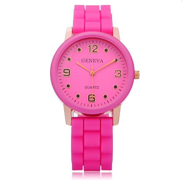 Silicone Round Dial Number Jelly Women Wrist Quartz Watch Watch