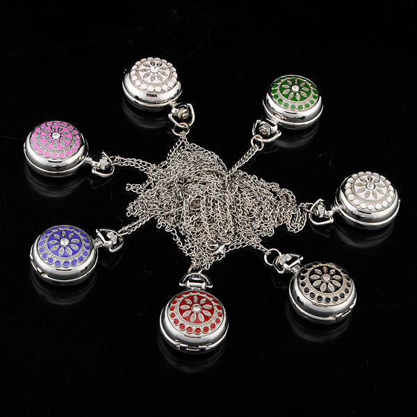Silver Classic Crystal Quartz Pocket Watch with Necklace for Gift Watch