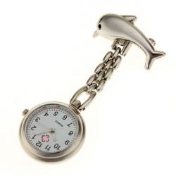 Silver Dolphin Battery Powered Nurse Wath Pocket Watch