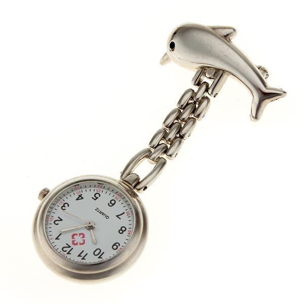 Silver Dolphin Battery Powered Nurse Wath Pocket Watch Watch
