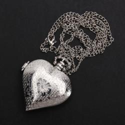 Silver Heart Shape Quartz Pocket watch Necklace Chain