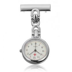 Silver Stainless Steel Nurse Doctor Brooch Quartz Pocket Watch