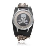 Skeleton Leather Button Wrist Watch Watch