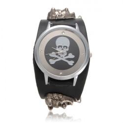 Skeleton Leather Button Wrist Watch