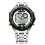Solar Powered Dual Display LED Stainless Steel Men Quartz Watch Watch