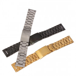 Straight Stainless Steel Strap Side Push Button Buckle Watch Band