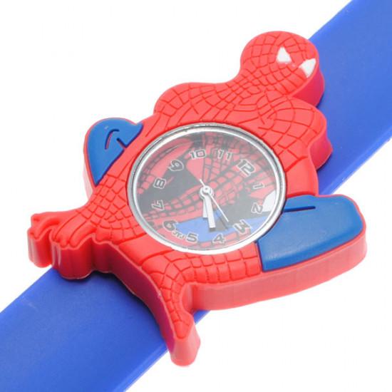 Super Hero Spider Man Silicon Slap Blue Strap Children Quartz Watch 2021