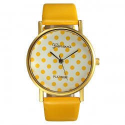 Sweet Cute Women Girl Round Leather Band Small Polka Dots Watch