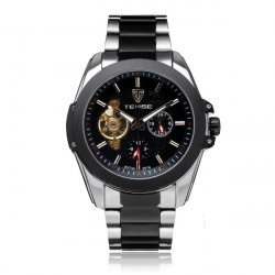 TEVISE 24h Display Flywheel Mechanical Stainless Steel Men Watch
