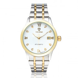 TEVISE Crystal Roman Calendar Mechanical Stainless Steel Men Watch