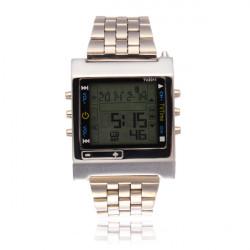 TVG Sport Digital Back Light Stainless Steel Silver Men Wrist Watch