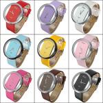 Unisex Leather Transparent Dial Hollow Quartz Wrist Watch Watch