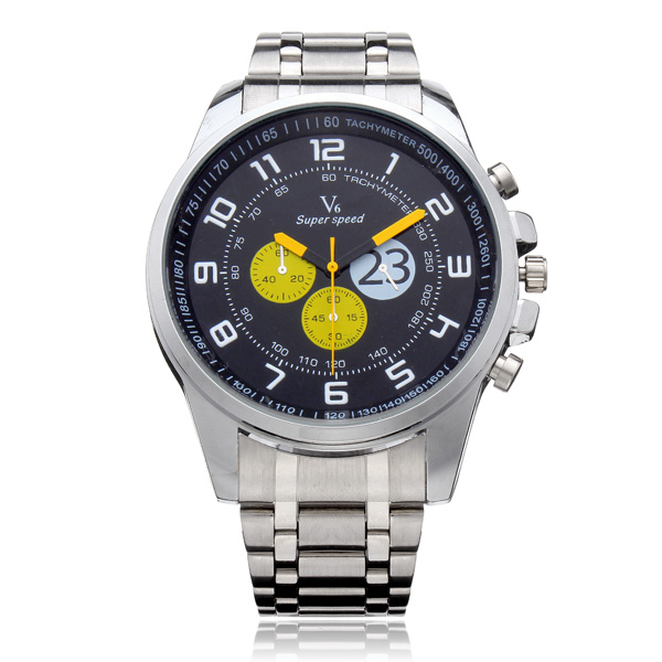 V6 A003 Super Speed Big 3 Dial Stainless Steel Number Sport Men Watch Watch