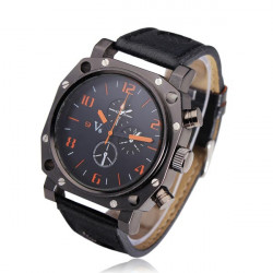 V6 Men Analog Black Stainless Steel Leather Quartz Wrist Watch