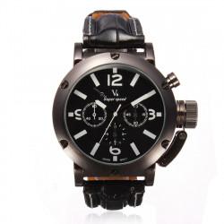 V6 Men Black Leather Fashion Quartz Waterproof Watch