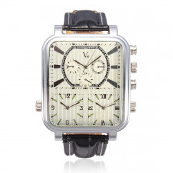 V6 Men Quartz Leather Big Dial Multiple Time Fashionable Watch