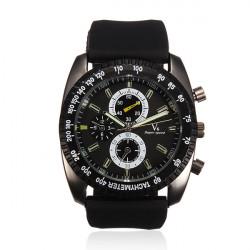 V6 Men Sports Round Big Dial Fashion Quartz Silicone Watch