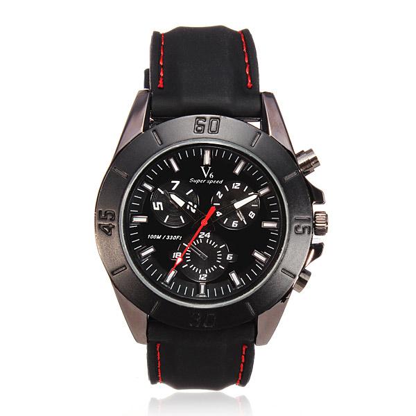 V6 Men Sports Round Rubber Quartz Fashion Watch Watch