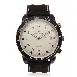 V6 Men Sports Round White Dial Numeral Compass Quartz Silicone Watch