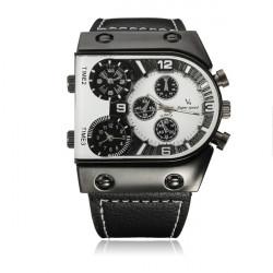 V6 Rectangle Black PU Band Big Dial Quartz Watch