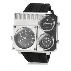 V6 Square Three Time Zones Silicone Band Quartz Watch