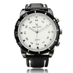 V6 Super Speed Big Dial PU Band Quartz Watch