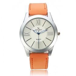 V6 Super Speed Roman Number PU Band Quartz Watch