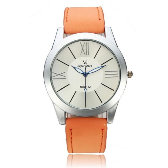V6 Super Speed Roman Number PU Band Quartz Watch 2021