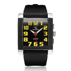 V6 Super Speed Rubber Big Dial Square Number Men Women Quartz Watch